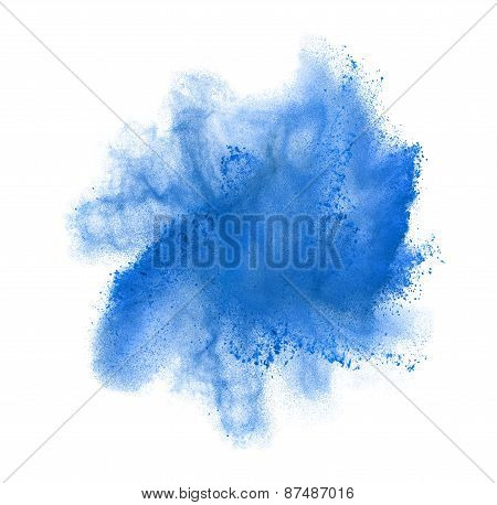 Freeze motion of blue powder exploding, isolated on white. Abstract design of white dust cloud. Part