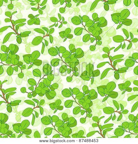 Seamless green tree branch leaves floral pattern