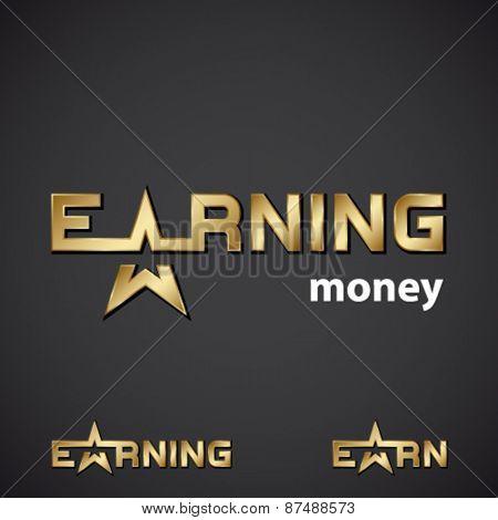 vector earning golden star inscription icon