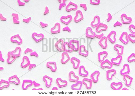 pink heart confetti background frame
