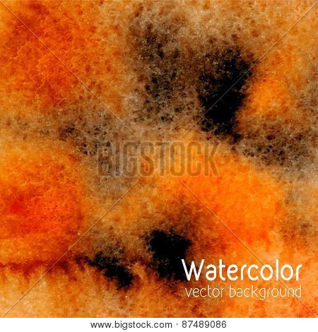 Vector Abstract Watercolor Background With Paper Texture. Hand Drawn Watercolor Backdrop, Stain Wate