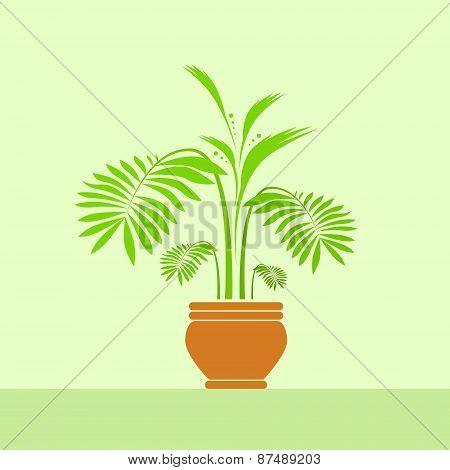 green leave flower in pot vector