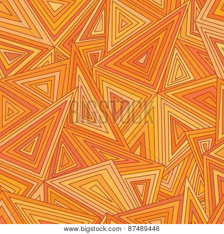 Seamless triangles lattice abstract pattern. Difference orange colors.