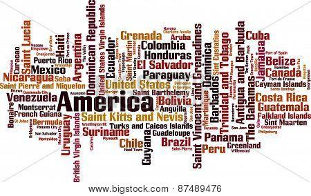 Countries In America Word Cloud