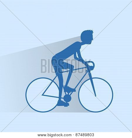 Cycling sport bicycle man silhouette, road bike rider flat