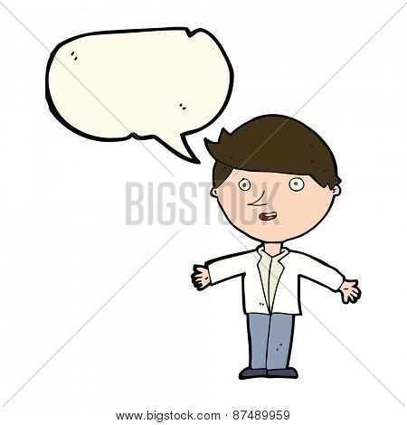 cartoon man in casual jacket with speech bubble
