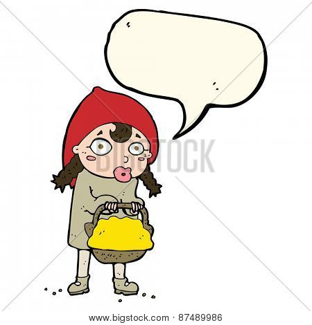 little red riding hood cartoon with speech bubble