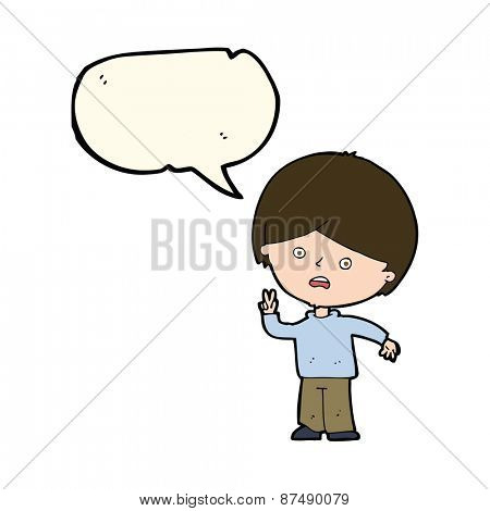 cartoon unhappy boy giving peace sign with speech bubble