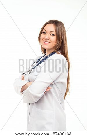 Beautiful Young Female Doctor Isolated On White With Blue Phonendoscope