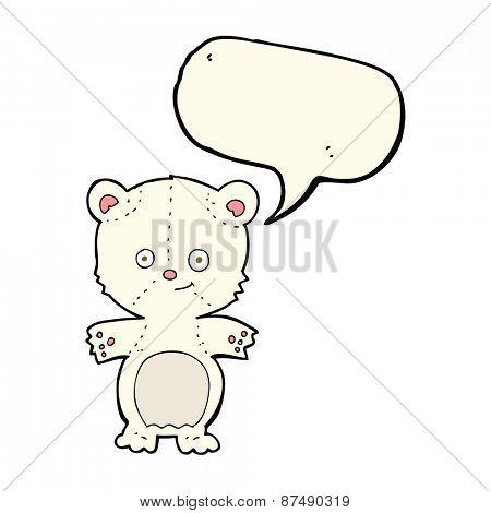 cartoon polar bear cub with speech bubble