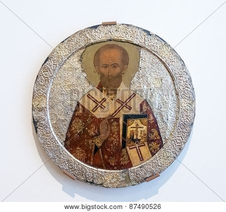 Antique Russian Orthodox Icon Of Saint Nicolas