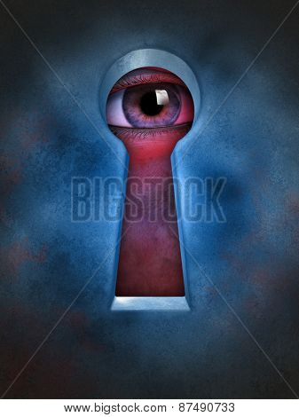 Human eye spying through a keyhole. Digital illustration.