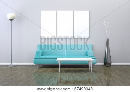 3D rendering of a  room with a sofa and background for your own content