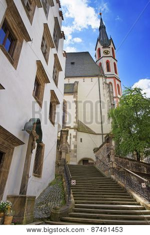 Cathedral Wall And Bell Tower In Cesky Krumlov