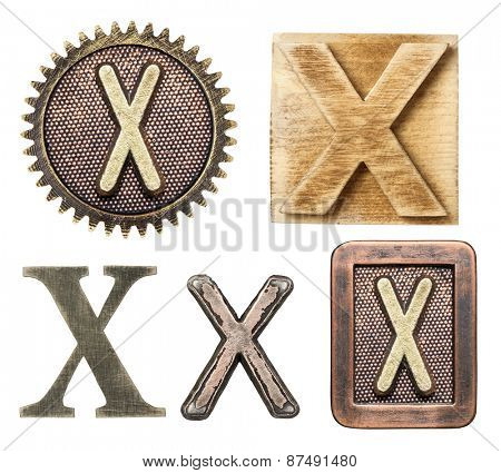 Alphabet made of wood and metal. Letter X