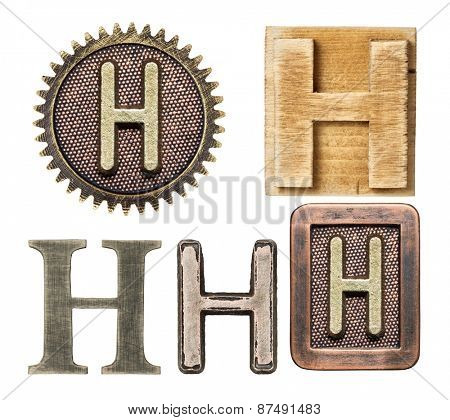 Alphabet made of wood and metal. Letter H