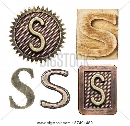 Alphabet made of wood and metal. Letter S
