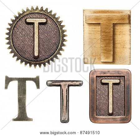 Alphabet made of wood and metal. Letter T