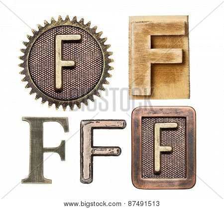 Alphabet made of wood and metal. Letter F