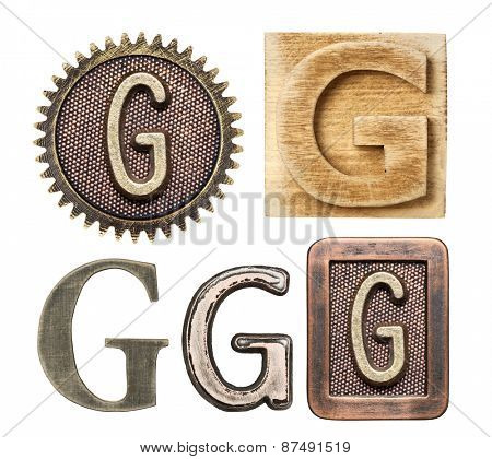 Alphabet made of wood and metal. Letter G