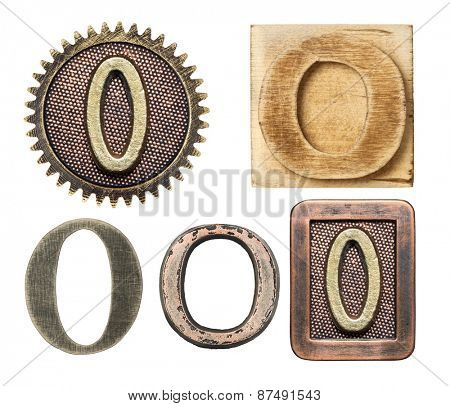 Alphabet made of wood and metal. Letter O