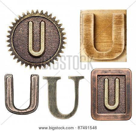 Alphabet made of wood and metal. Letter U