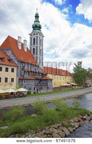 River And Quay In City Of Cesky Krumlov