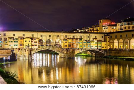 The Ponte Vecchio In Florence At Night