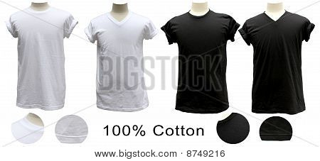 T-shirt 100% cotton white black round V