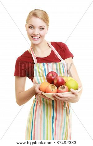 Housewife Or Seller Offering Healthy Fruit Isolated