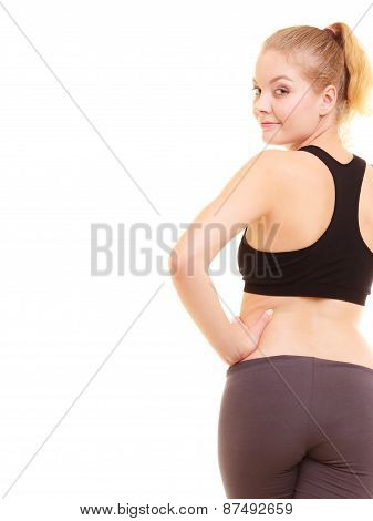 Sport. Back Of Fitness Sporty Girl In Sportswear Isolated