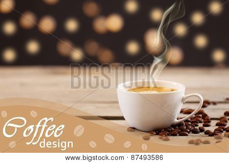 Cup of coffee on table on lights background