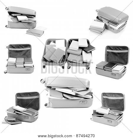 Different compositions with books in suitcase isolated on white in collage