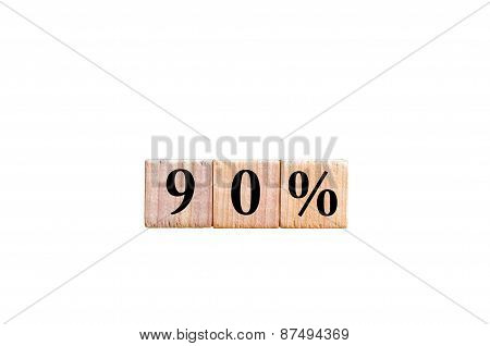 Ninety Percent Symbol Isolated On White Background With Copy Space