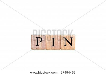 Word Pin -personal Identification Number  Isolated On Black Background With Copy Space