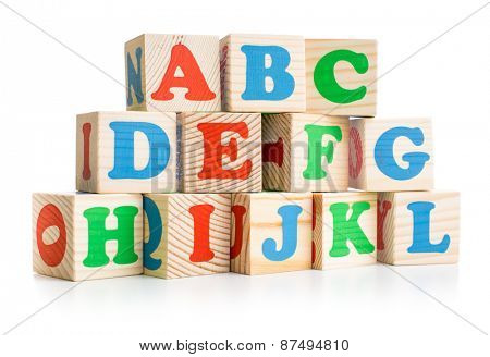 alphabet wood bricks tower or wall isolated on white