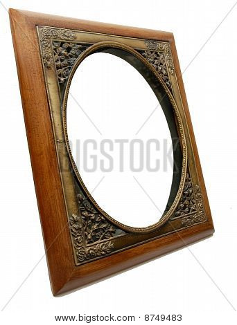 Elegant wood & brass photo frame