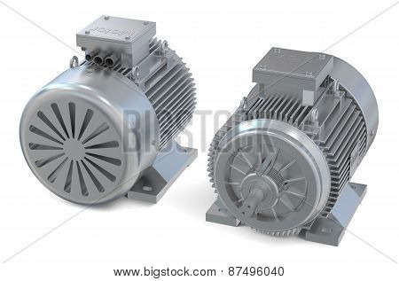Industrial Electric Motors, Front And Back View