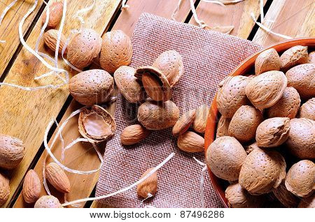 Group Of Almonds On A Table In The Field Top View