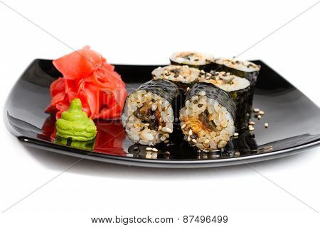 Sushi rolls on a white