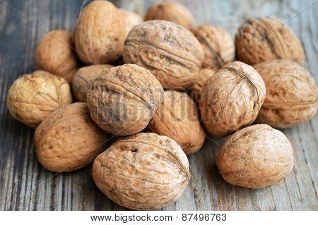 Lots of big healthy walnuts in shells