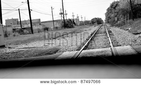Letterbox railroad photo in black and white