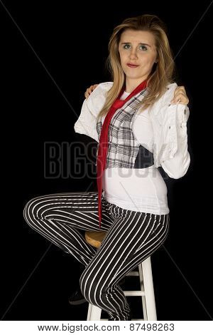 Sassy Young Caucasian Female Model Sitting On Stool