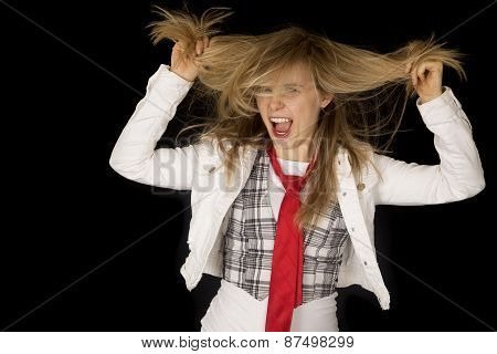Rowdy And Excited Girl Pulling Her Hair Black Background