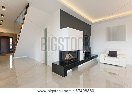 Fireplace In Luxury Detached House