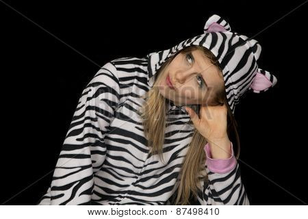 Woman Wearing Black And White Striped Pajamas Looking Up