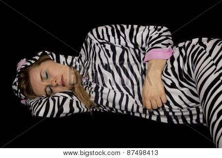 Young Woman Asleep Laying Down Wearing Striped Pajamas