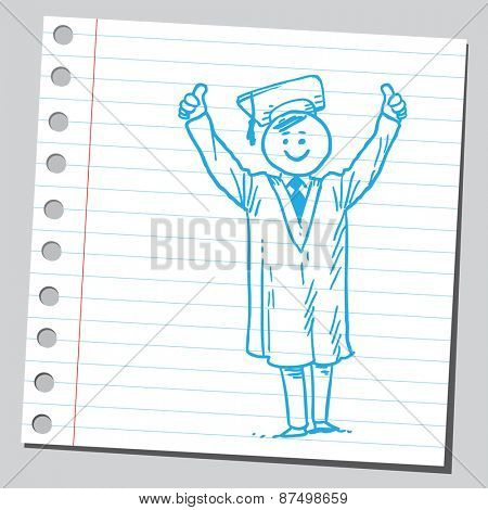 Graduate student with thumbs up