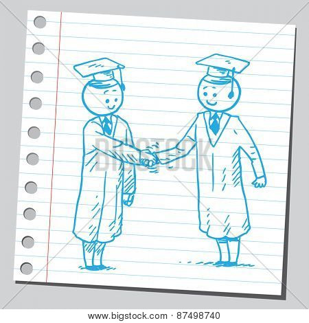 Graduate students shaking hands