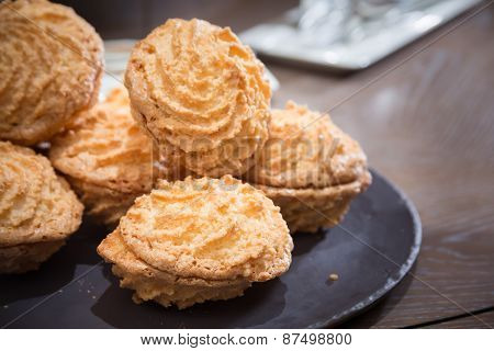 Almond Cookies On Wooden Table